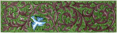 [Picture: Green and brown border with vines and bird]