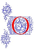 [picture: Decorative initial letter O from fifteenth Century Nos. 4 and 5.]