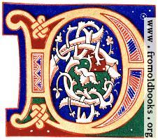 [picture: Decorative initial letter ``D'' from 11th century.]