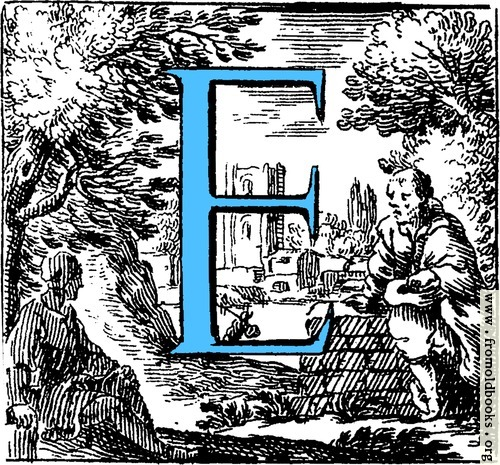 [Picture: Historiated decorative initial capital letter E in Blue]