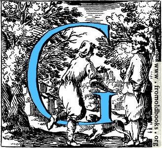 [Picture: Historiated decorative initial capital letter G in Blue]