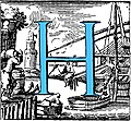 [Picture: Historiated decorative initial capital letter H in Blue]