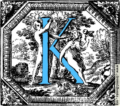 [Picture: Historiated decorative initial capital letter K in Blue]