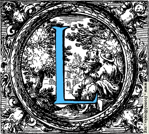 [Picture: Historiated decorative initial capital letter L in Blue]