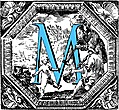 [Picture: Historiated decorative initial capital letter M in Blue]