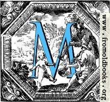 Historiated decorative initial capital letter M in Blue