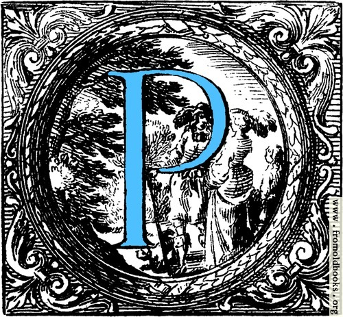 [Picture: Historiated decorative initial capital letter P in Blue]