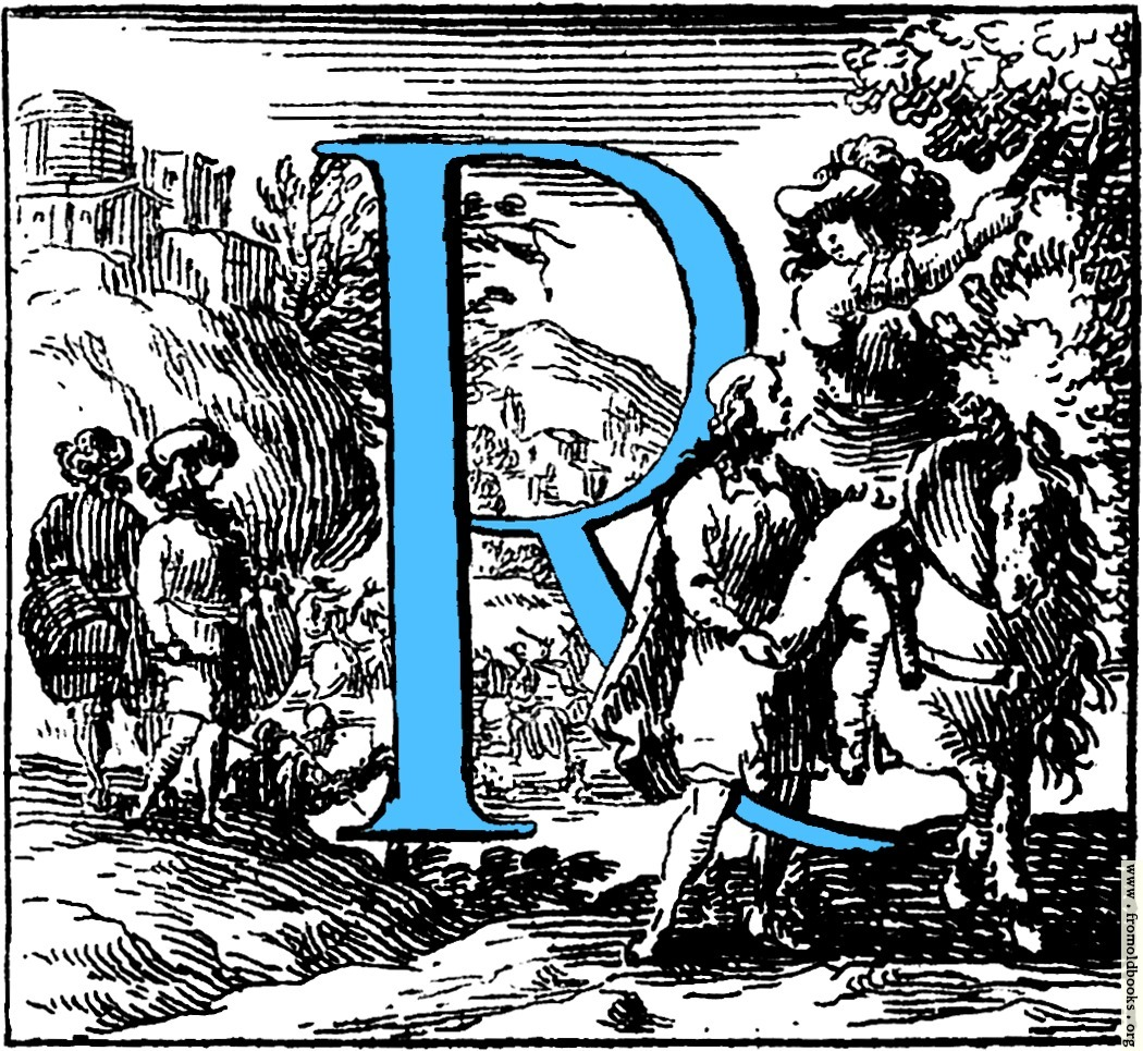 historiated decorative initial capital letter r in blue