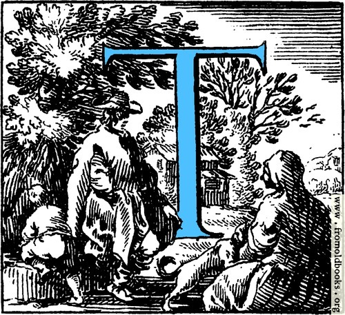 [Picture: Historiated decorative initial capital letter T in Blue]