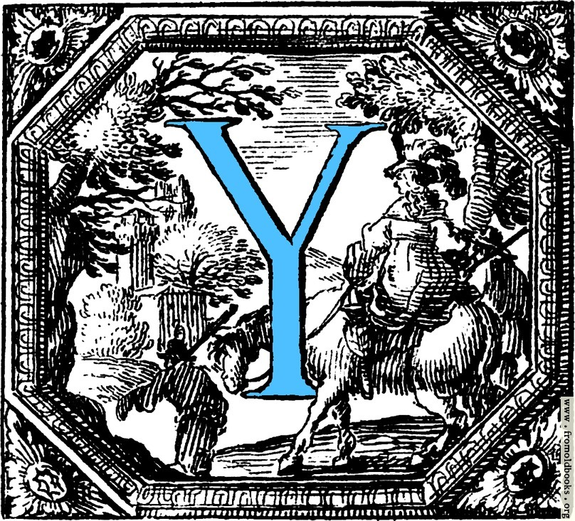 [Picture: Historiated decorative initial capital letter Y in Blue]
