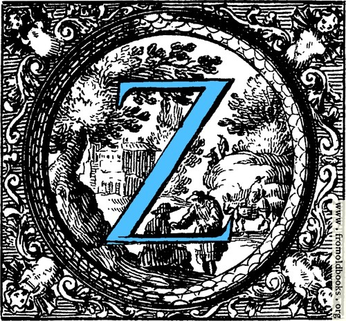 [Picture: Historiated decorative initial capital letter Z in Blue]