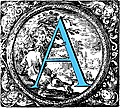 [picture: Historiated decorative initial capital letter A in Blue]