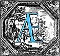 [picture: Historiated decorative initial capital letter AE in Blue]