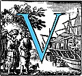 [picture: Historiated decorative initial capital letter V in Blue]