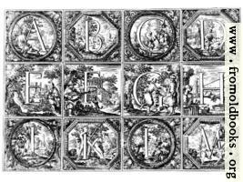 [picture: Valerio Spada: Historiated Alphabet, 1656--1659 [A-M]]