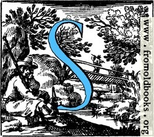 [picture: Historiated decorative initial capital letter S in Blue]