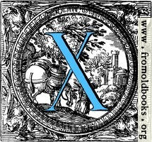 [picture: Historiated decorative initial capital letter X in Blue]