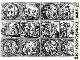 [picture: Valerio Spada: Historiated Alphabet, 1656--1659 [N-Z]]