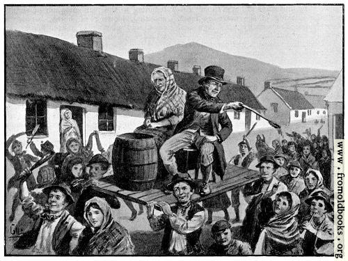[Picture: Two of the revellers in Irish peasant costume]