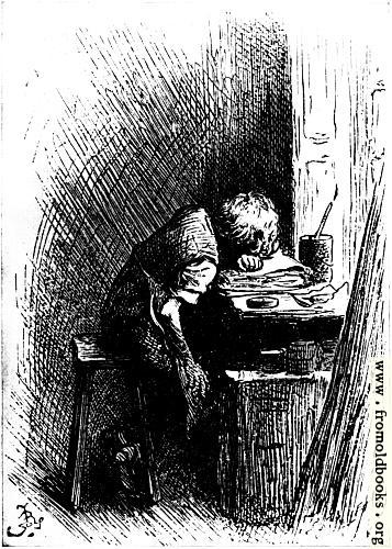 [Picture: Dickens at the Blacking Warehouse]