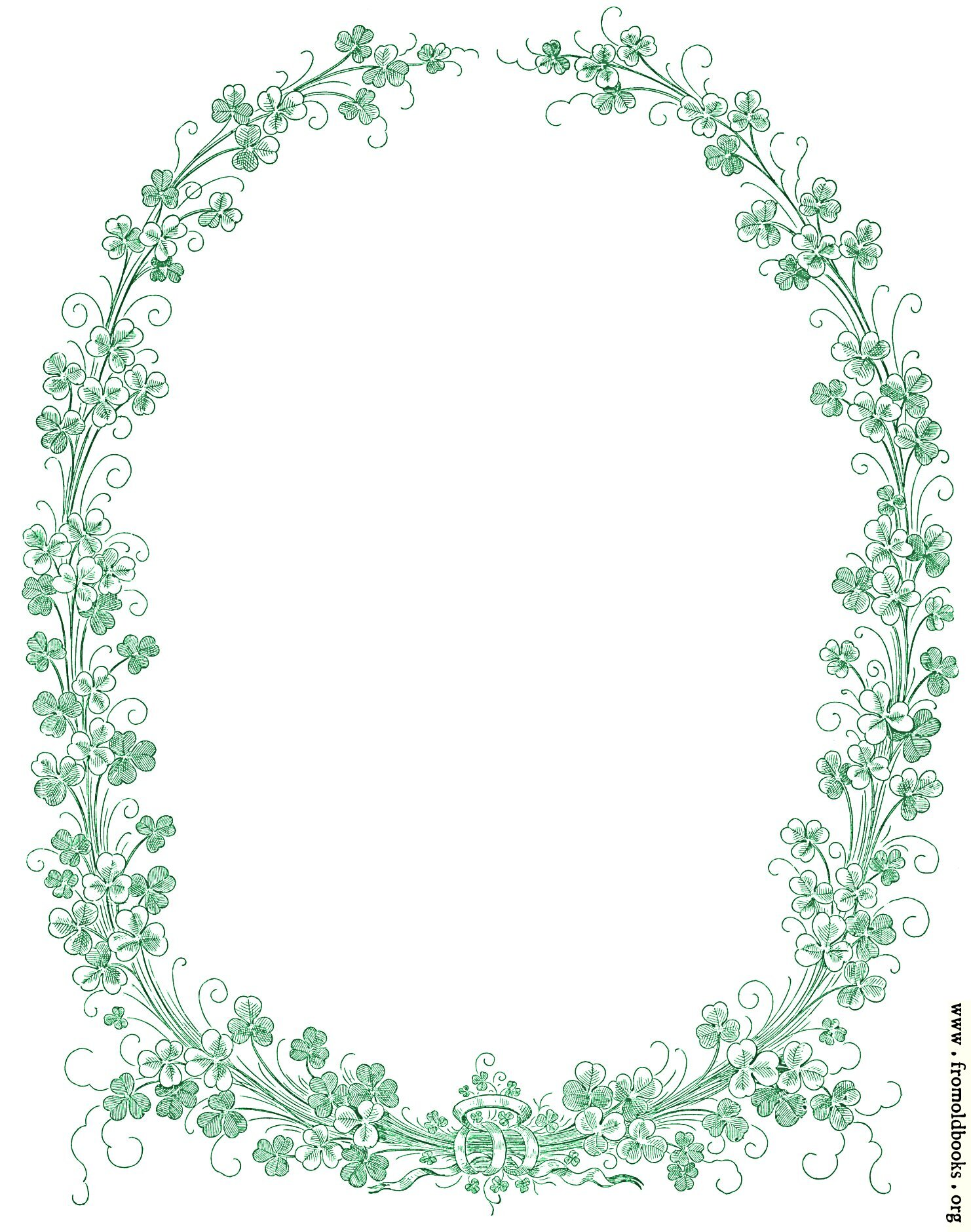 [Picture: Green leavy Victorian border of Irish shamrock]