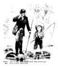 [Picture: Cartoon: barefoot boy fishing]