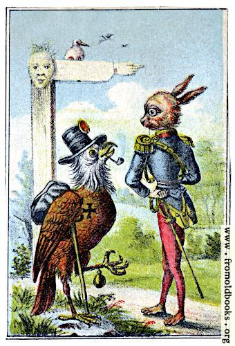 [Picture: Hobo bird meets aristocrat rabbit]