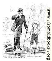 [picture: Cartoon: barefoot boy fishing]