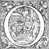 [Picture: Decorative initial letter O with cherubs cooking soup]