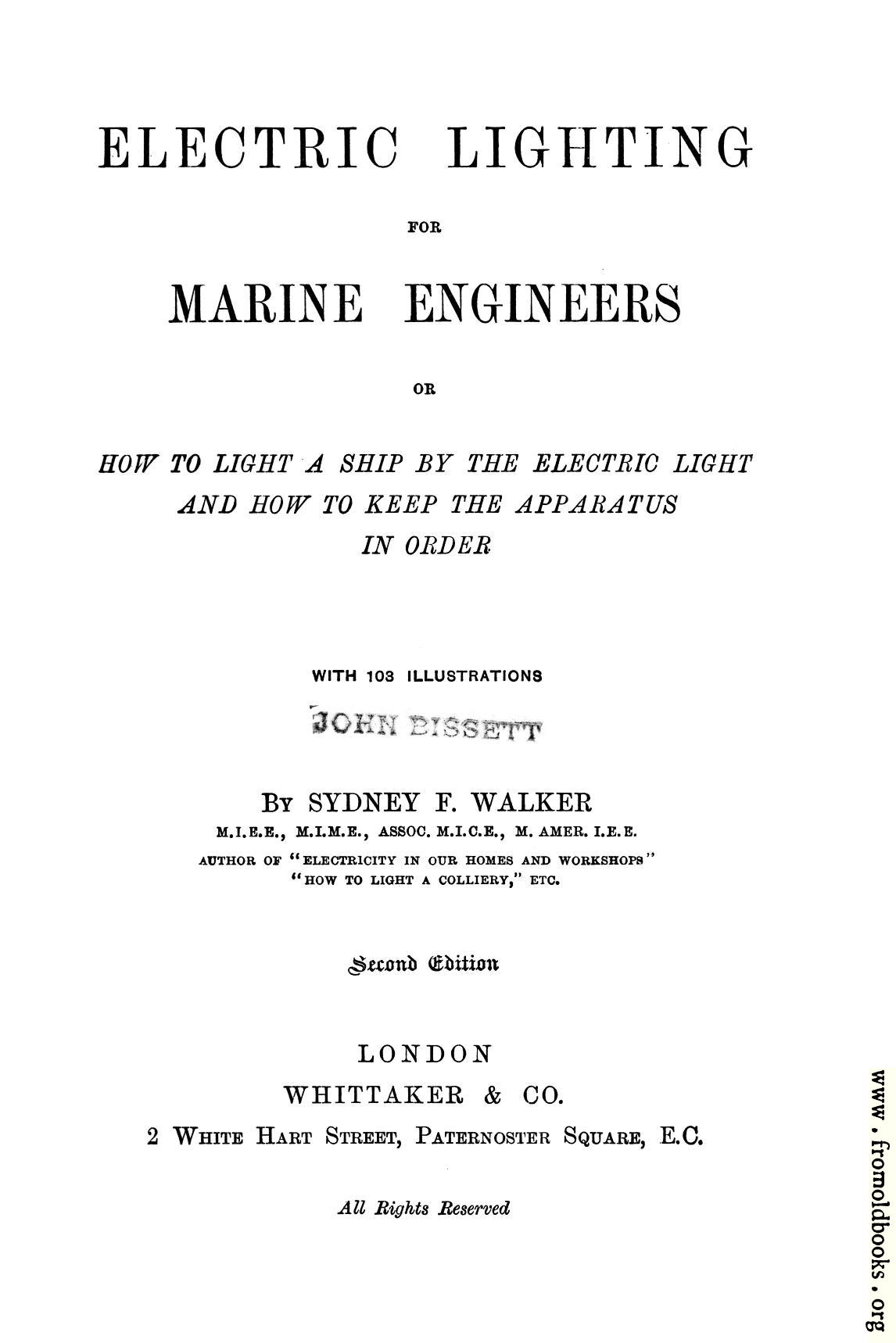 [Picture: Title Page from Electric Lighting for Marine Engineers]