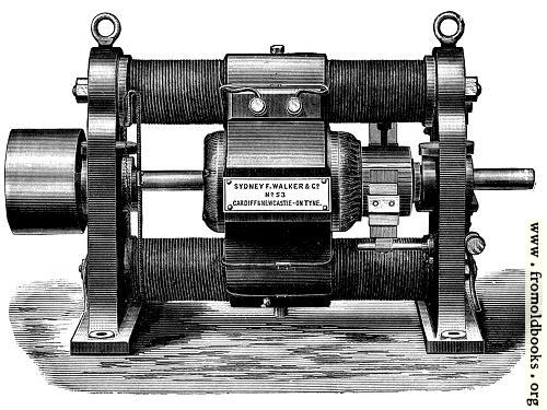 [Picture: Fig. 17.—Showing Old Type of Gramme Continuous Current Dynamo.]