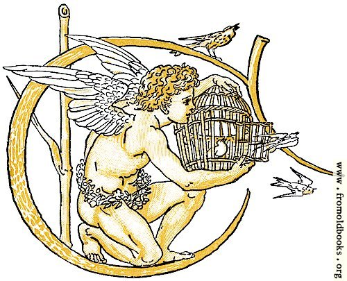 [Picture: Initial letter C with angel releasing birds from bird-cage]