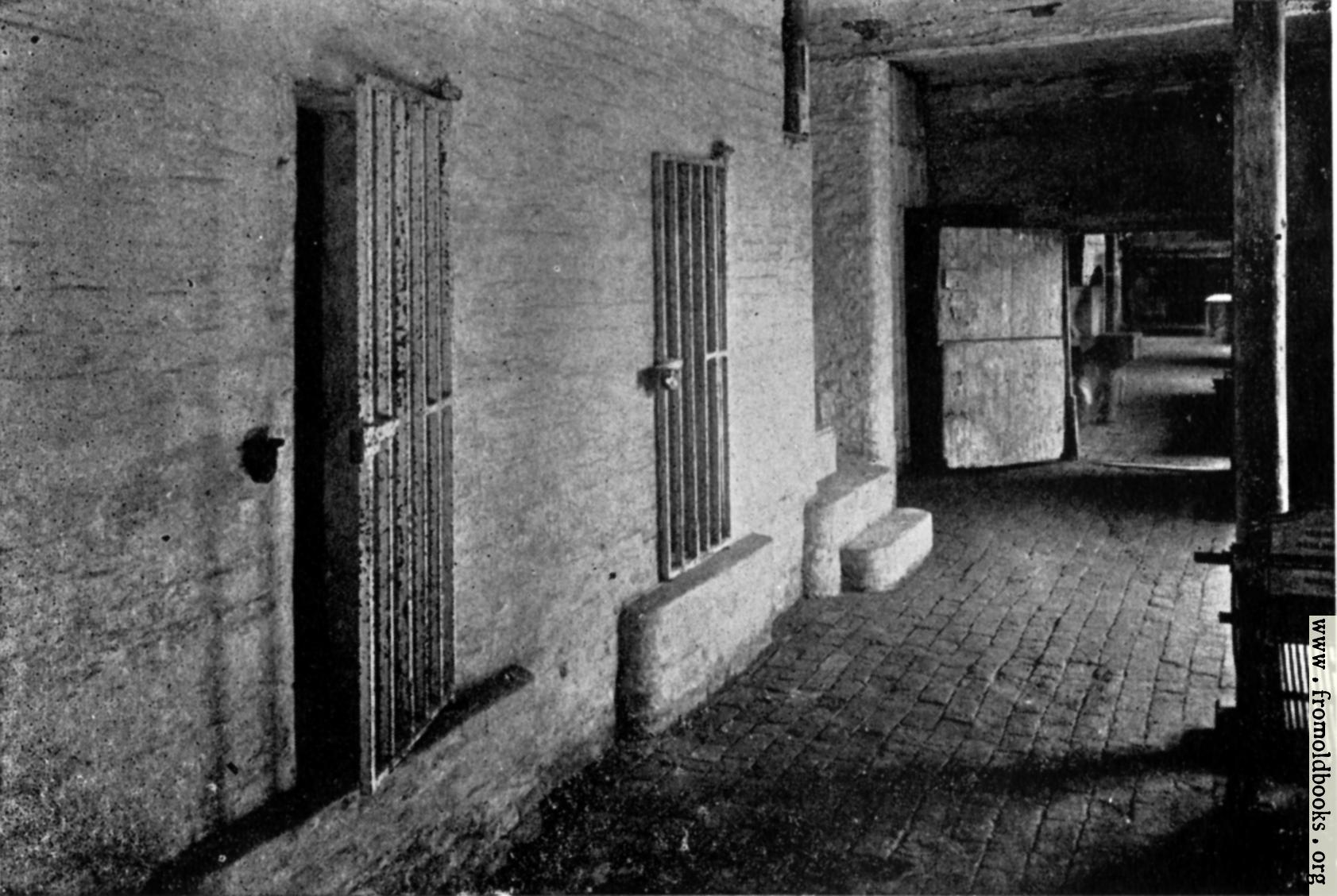 [Picture: Cells at town hall, Boston, England, where the Pilgrim Fathers were confined]