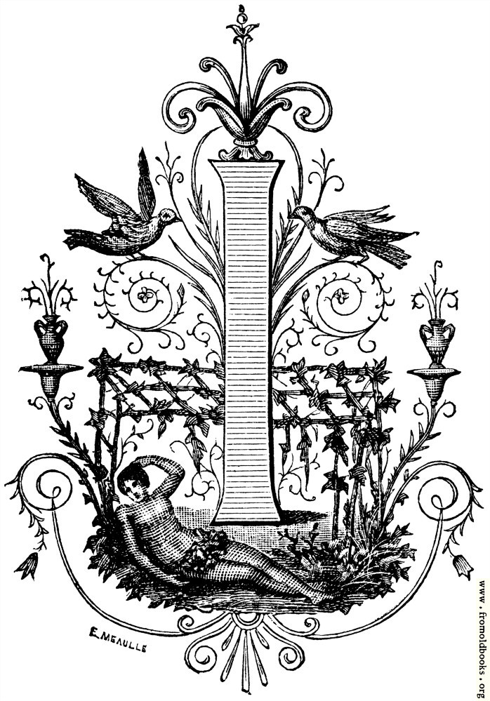 """[Picture: Decorative Initial letter """"I"""" With sunbathing lady and birds]"""