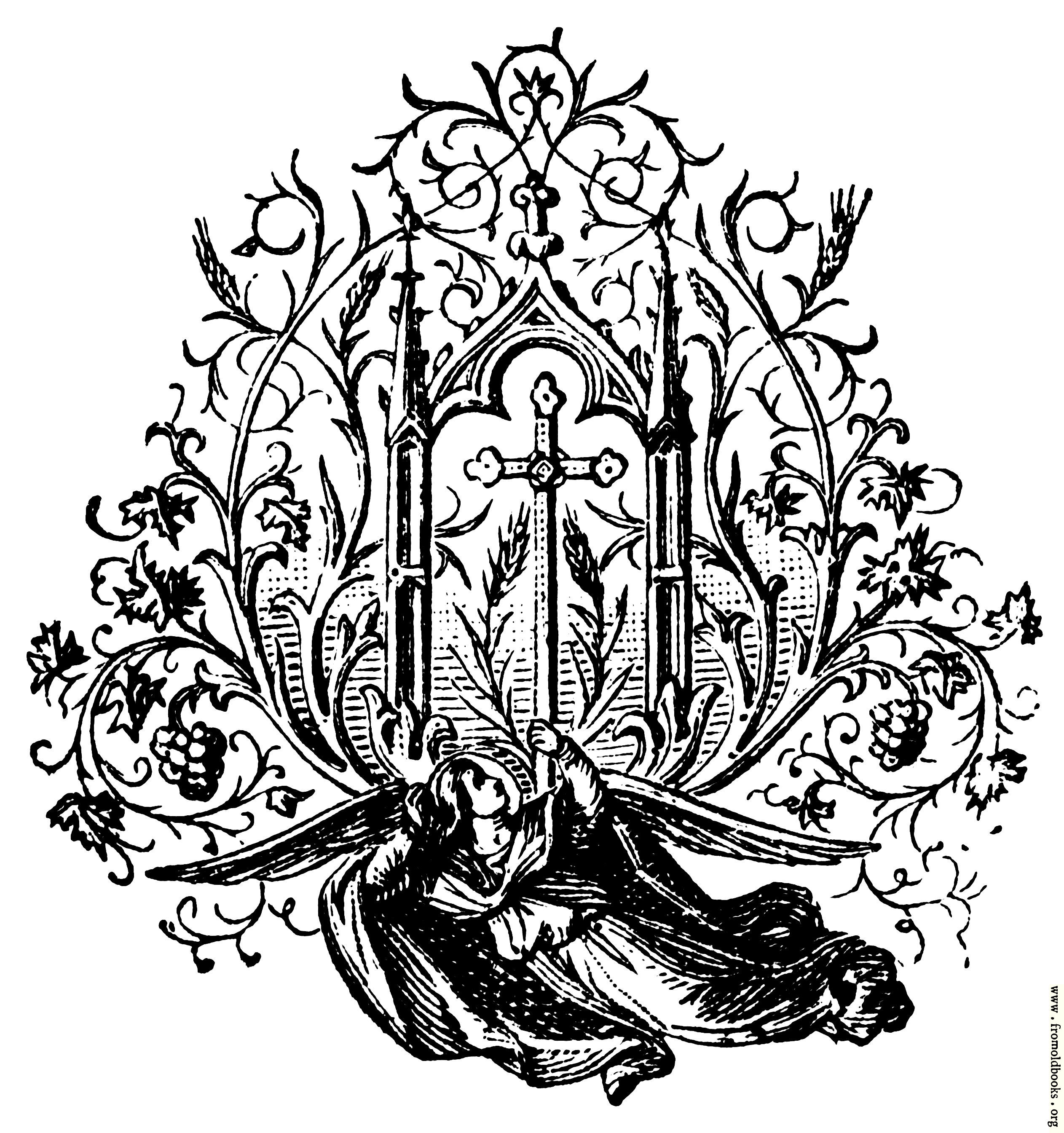 [Picture: Chapter tailpiece, winged angel holding cross]