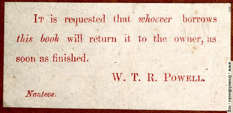 [Picture: Bookplate, return this book]
