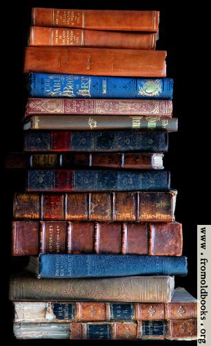 [Picture: Stack of old books, dark background]
