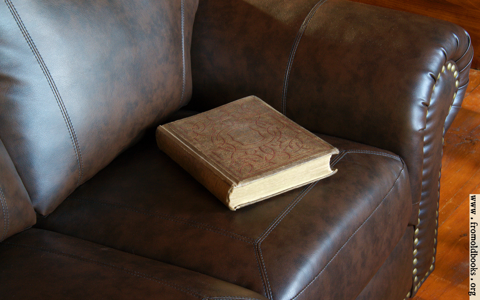Victorian Book On Leather Couch