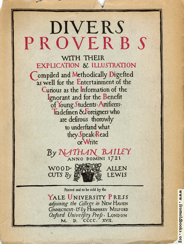 [Picture: Title Page, Proverbs]